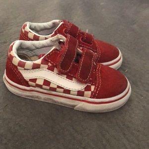 Red Velcro Checkered Vans